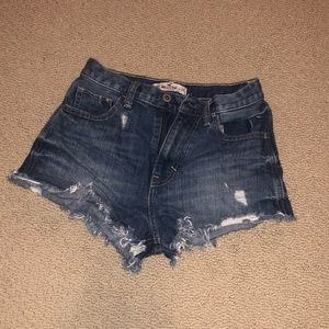 Hollister High Rise Jean Shorts Size 00 with Rips